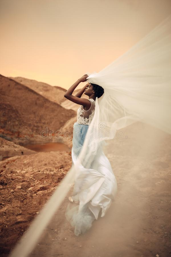 Black bride stands and holds waving bridal veil in her hands on background of beautiful landscape. Black bride in long wedding dress stands and holds waving stock image
