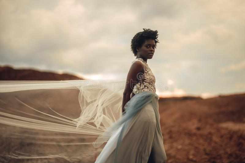 Black bride in waving long wedding dress and bridal veil stands on background of beautiful landscape. Black happy bride in waving long wedding dress and bridal stock photography