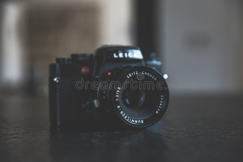 Black Bridge Camera on Black Surface stock photography