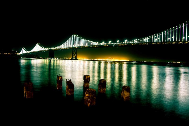 Black Bridge With Lights during Nighttime stock image