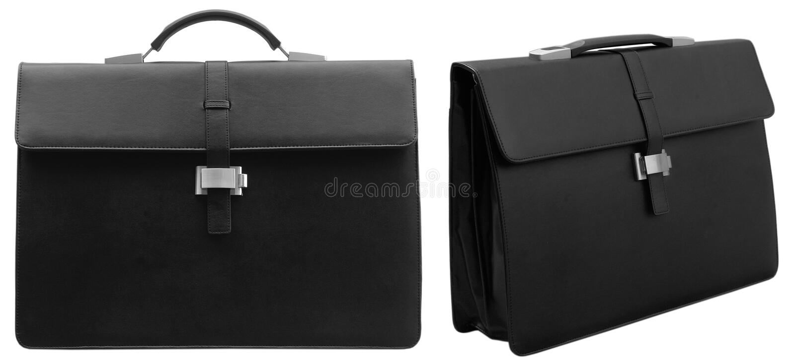 Black briefcase. On the white background stock image