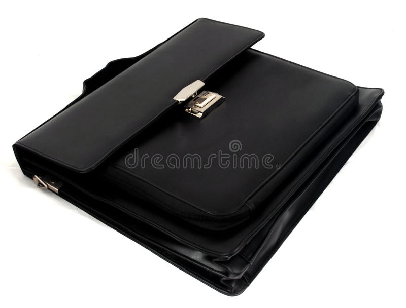 Black briefcase II. Black briefcase with hand holder metal lock royalty free stock photo