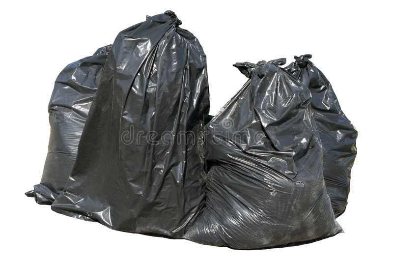 Black British bin bags, isolat. Ed on a white background royalty free stock photography