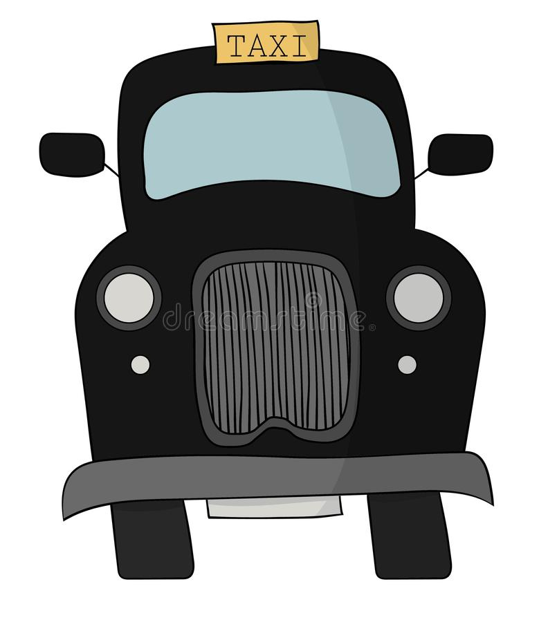 Black British Taxi Cab. A black British or English taxi cab with a yellow sign and big grill stock illustration