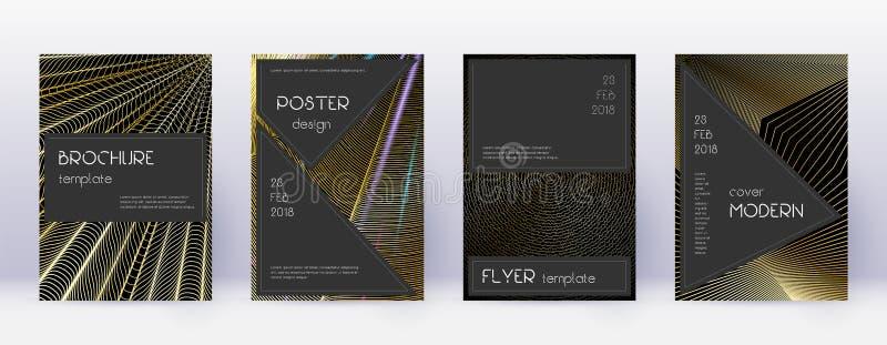 Black brochure design template set. Gold abstract vector illustration