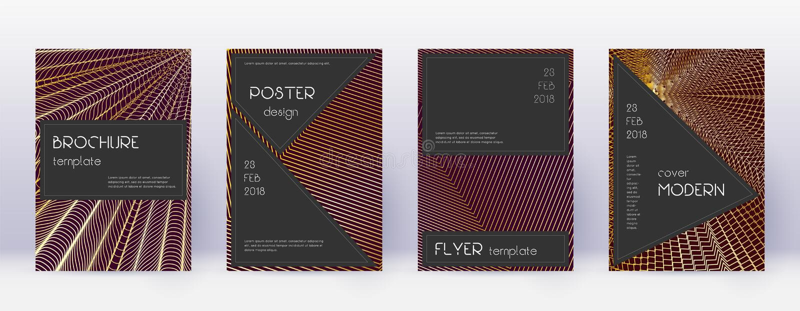 Black brochure design template set. Gold abstract royalty free illustration