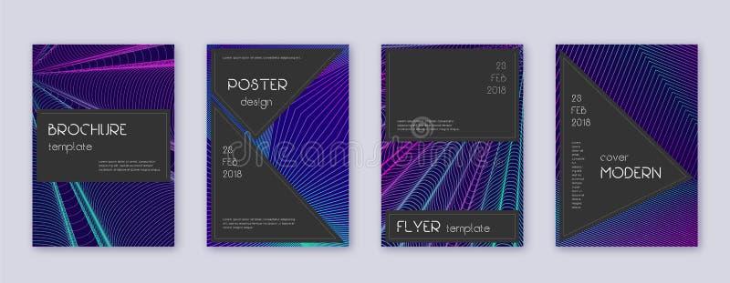 Black brochure design template set. Neon abstract stock illustration
