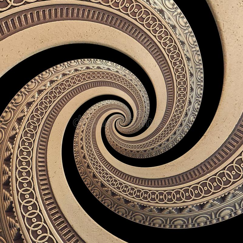 On black bronze copper geometrical abstract ornament spiral fractal pattern background. Metal spiral pattern effect. Background. Spiral symmetrical repetitive stock images
