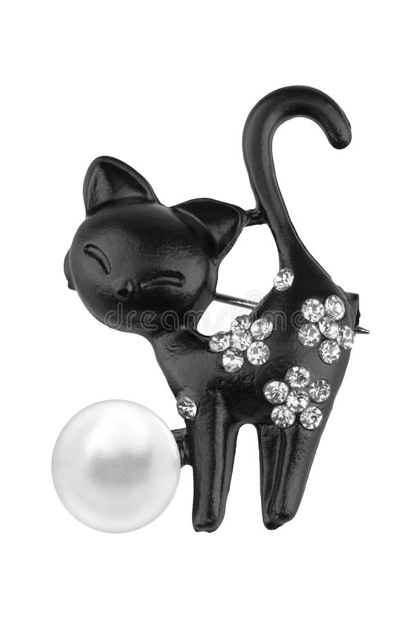 Black brooch shaped like a cat, with small diamonds and one big pearl, isolated on white background, clipping path included royalty free stock image