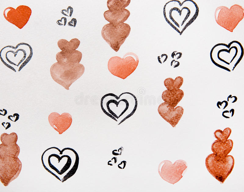 Black and brown hearts watercolor royalty free illustration