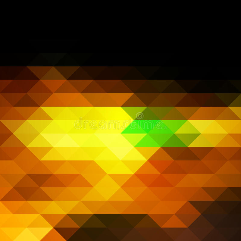Black brown yellow green rows of triangles background, square vector illustration
