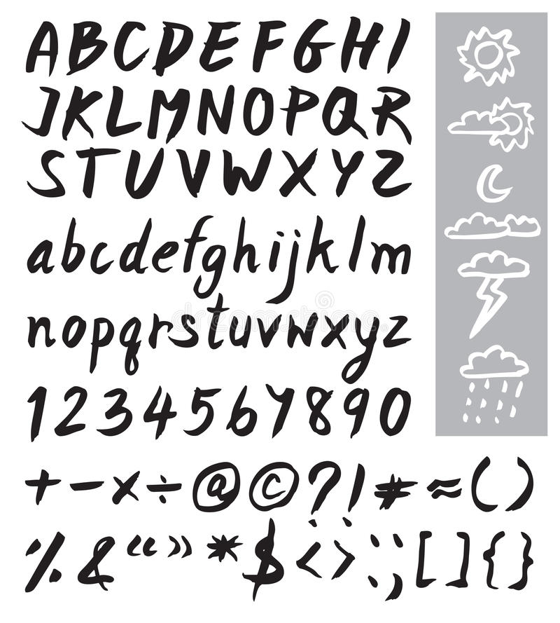 Black brush font design and weather icon royalty free illustration