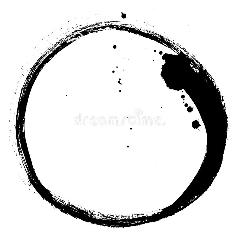 Black brush stroke in the form of a circle. Drawing created in ink sketch handmade technique royalty free illustration