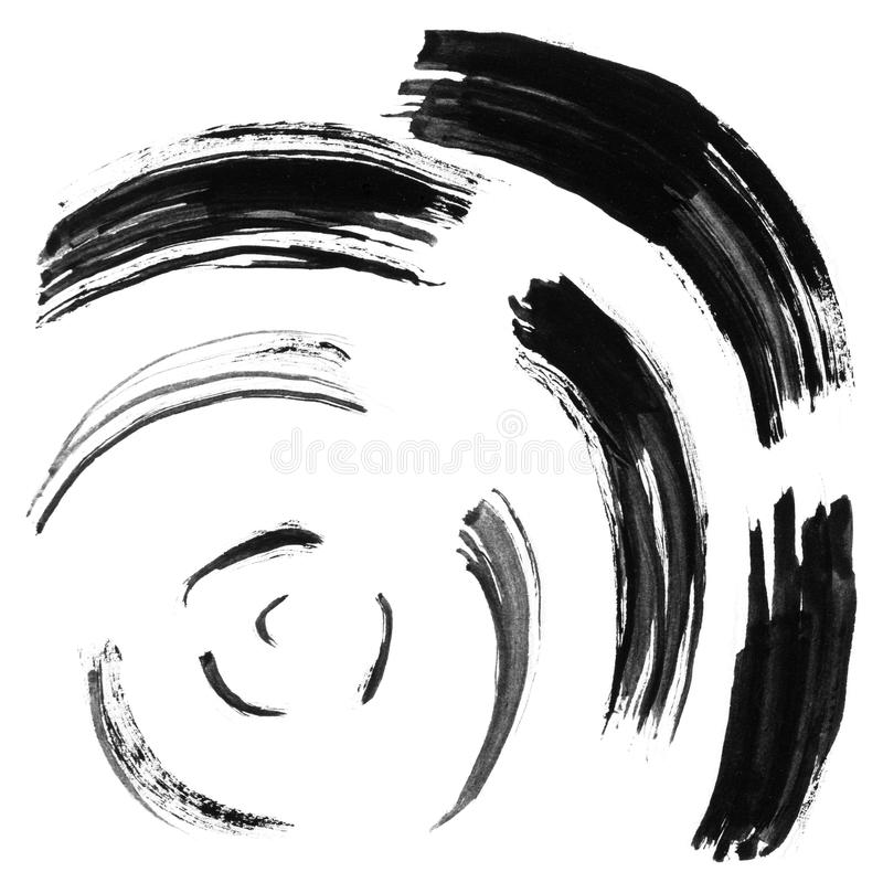 Black brush stroke in the form of a circle. Drawing created in ink sketch handmade technique. Isolated on white background. stock illustration
