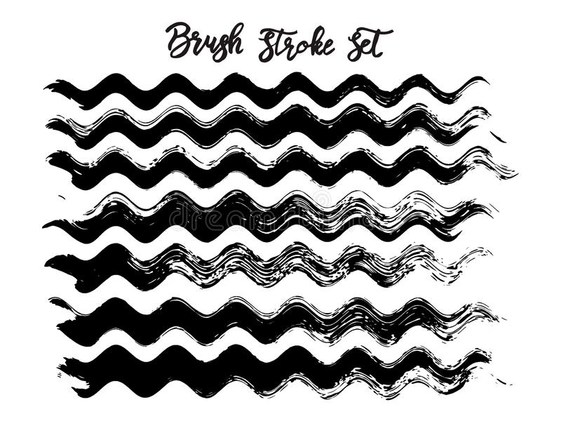 Black brush stroke waves vector set. Hand drawn vector brush strokes, ink splashes, watercolor brush, hand painted curls vector illustration