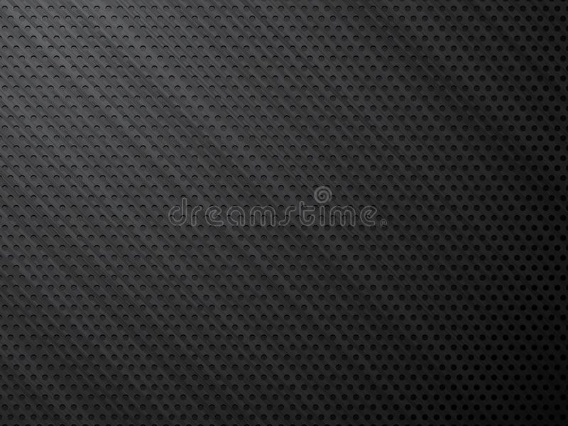 Black brushed metal perforated steel background. Modern style stock illustration