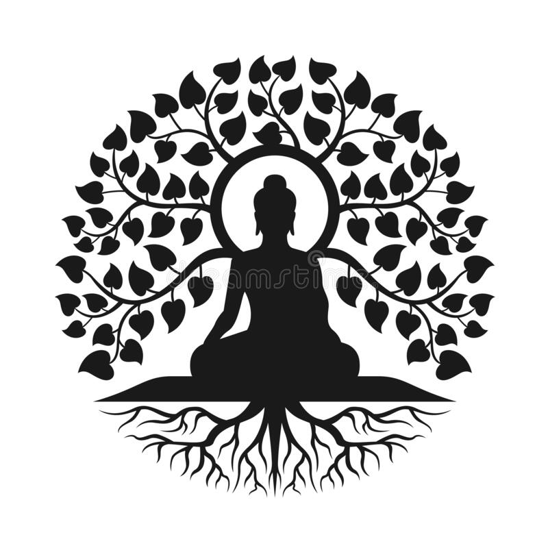 Free Black Buddha Meditation Under Bodhi Tree With Leaf And Root Abstract Circle Style Vector Design Stock Images - 193712374