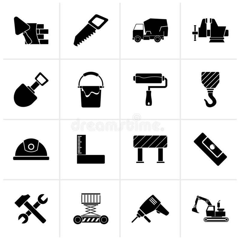 Black Building and construction tools icons royalty free illustration