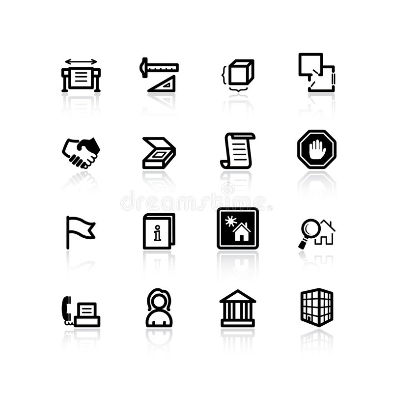 Black building icons. On the white royalty free illustration