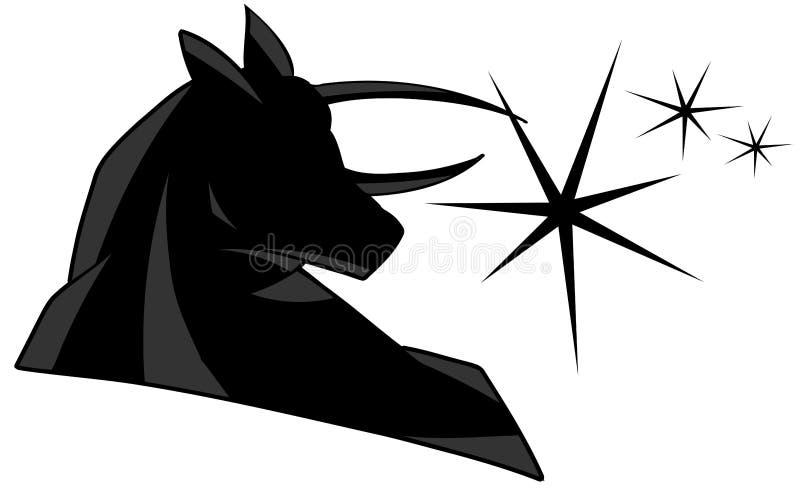 Black bull with stars royalty free illustration