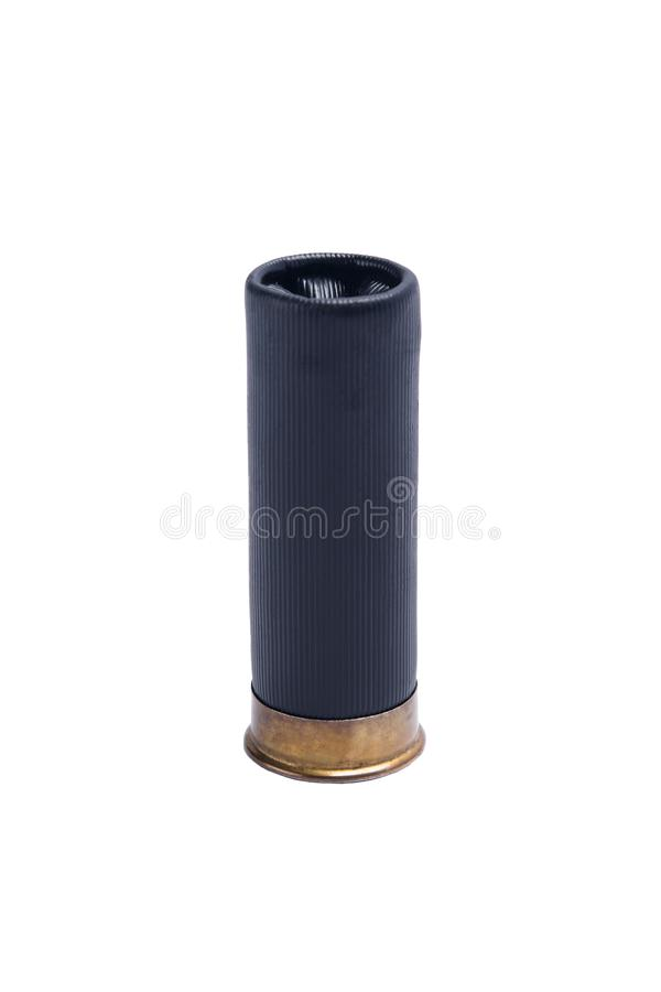 Black bullet for shotgun with large shot, on white background royalty free stock images