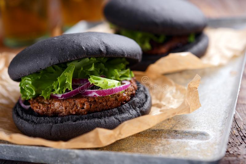 Black burger royalty free stock image