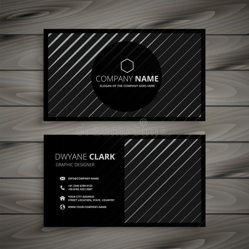 Black business card with diagonal lines. Vector vector illustration