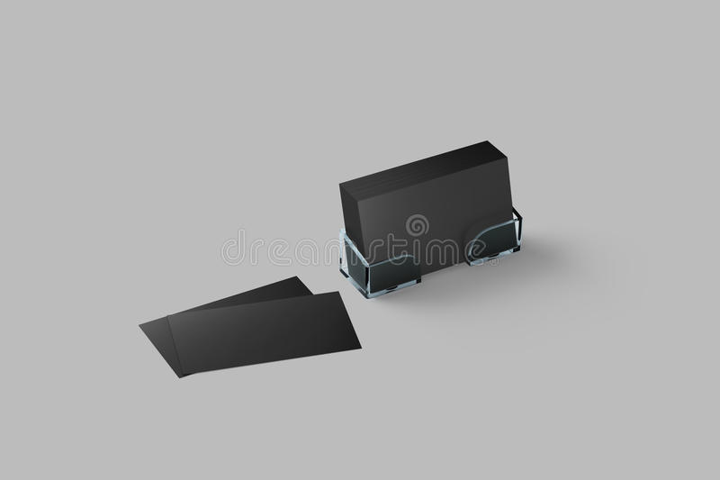 Black business card mockup in acrylic holder isolated royalty free illustration