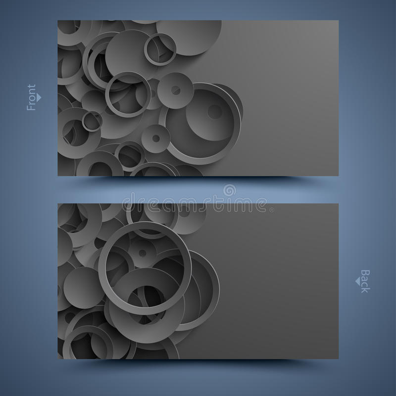 Black business card template. Abstract background. Front and back vector illustration