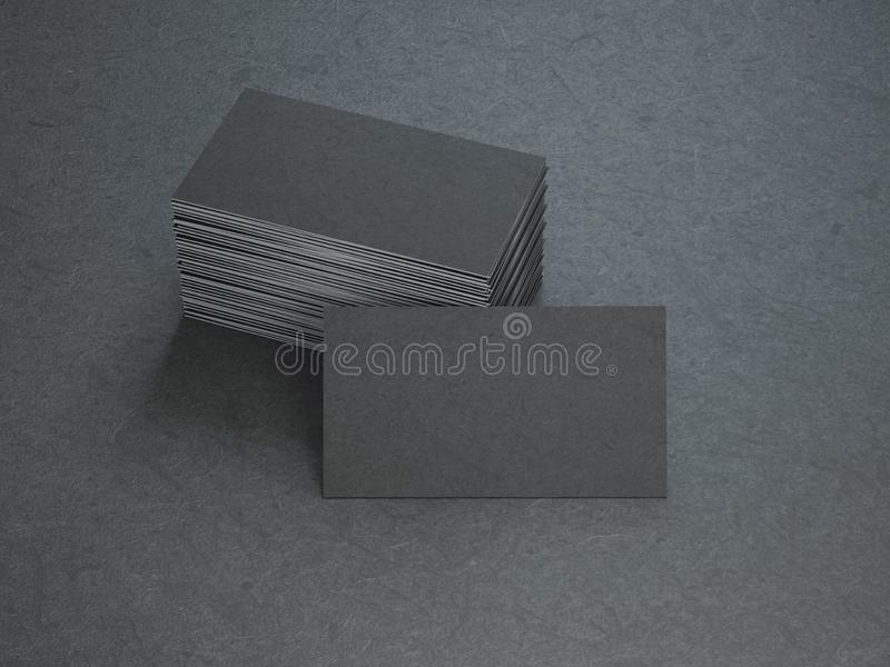 Black Business Cards. On black background, 3d rendering stock illustration