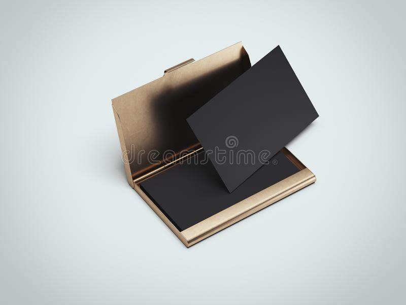 Black business cards with golden holder. 3d rendering. Black business cards with golden holder in gray background. 3d rendering stock illustration