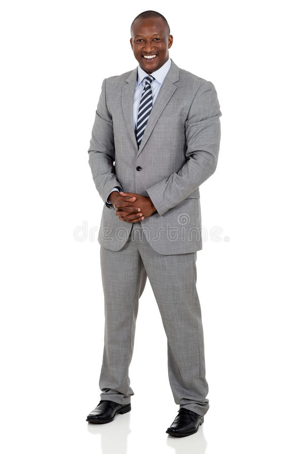 Black business man. Full length portrait of black business man isolated on white royalty free stock photo