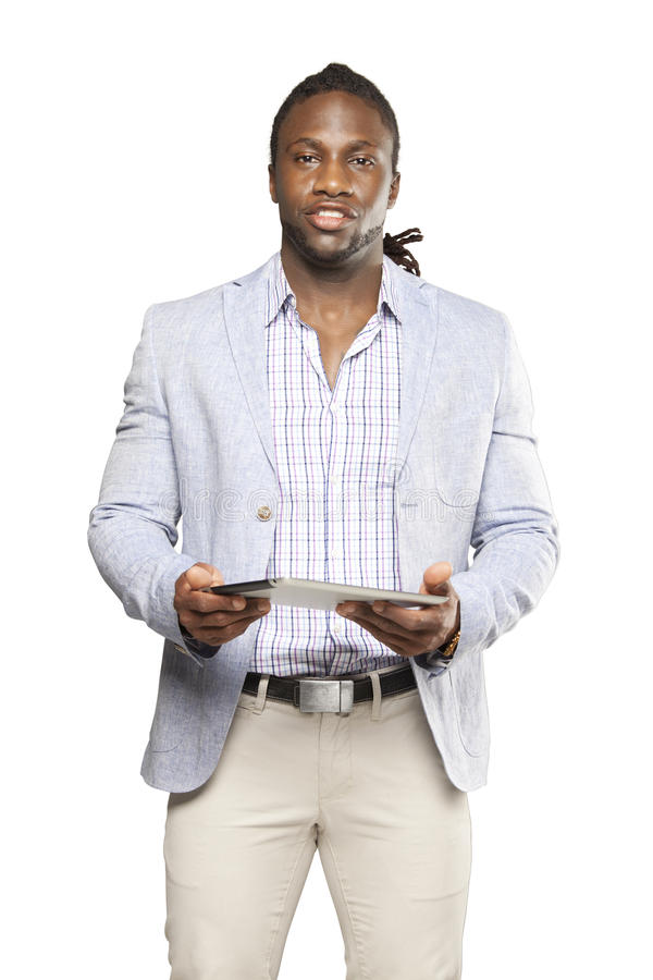 Black business man in light suit stock photography