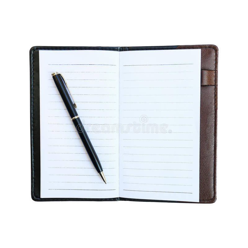 black business pen on notebook with leather case isolated on white stock photos