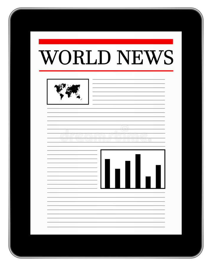 Black Business Tablet Similar To iPad Showing News royalty free stock photography