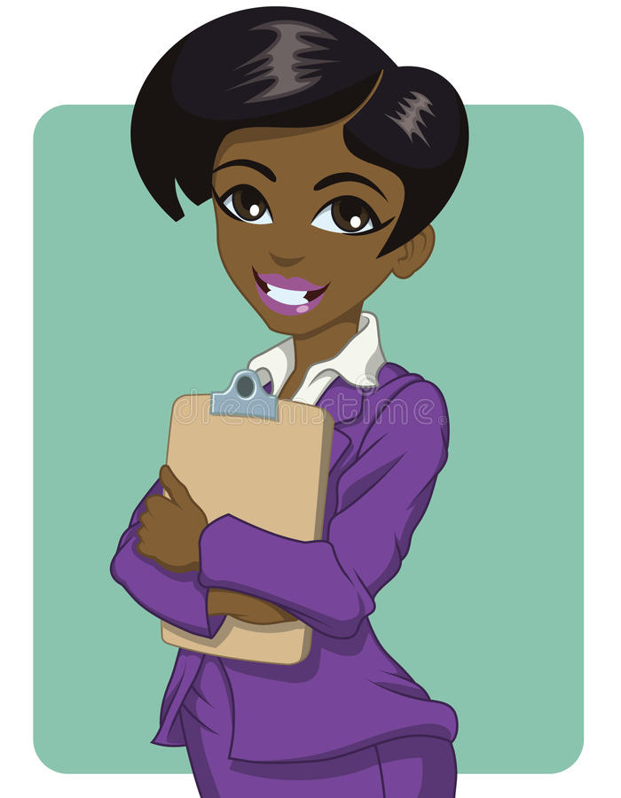 Black business woman. Attractive young black business woman holding a clipboard vector illustration