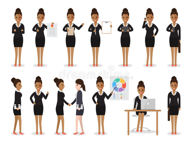 Black business woman characters royalty free illustration