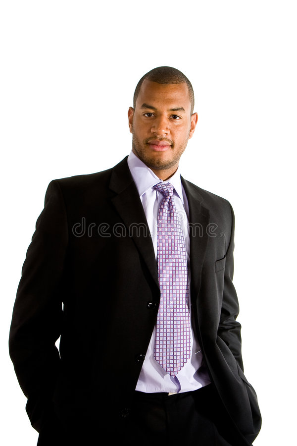 Black Businessman Hands in Pockets royalty free stock images