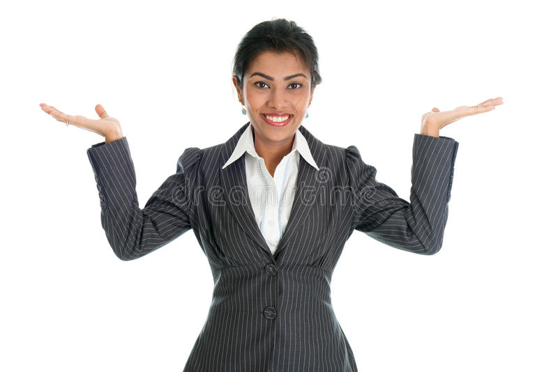 Black businesswoman hands showing something stock photos
