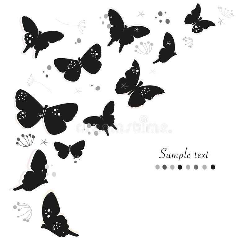 Black butterflies design and abstract decorative flowers greeting card vector background vector illustration