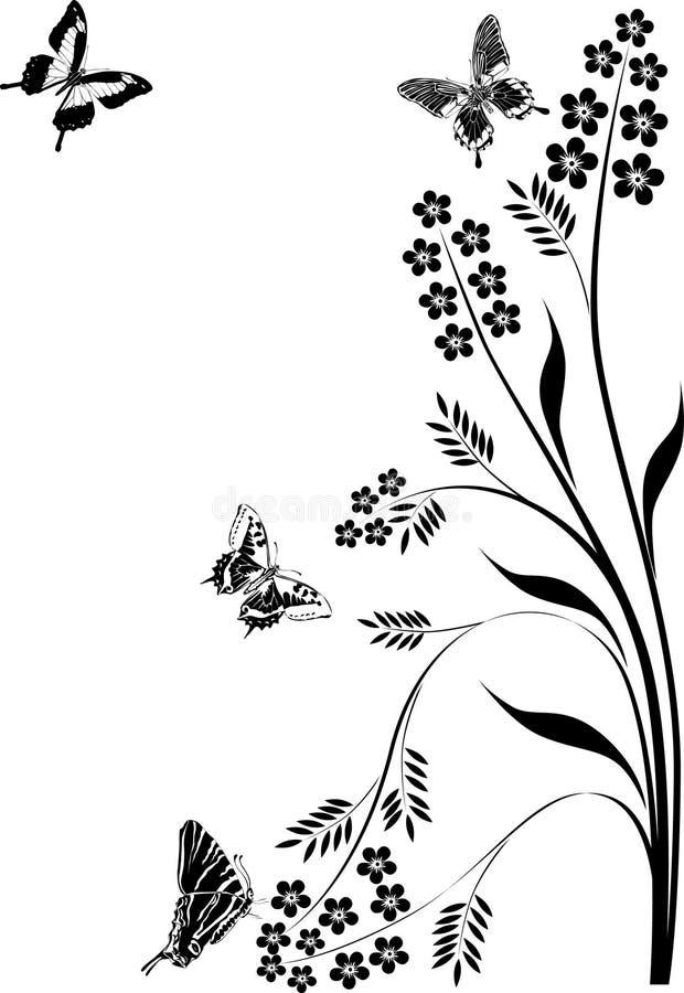 Download Black Butterflies And Floral Curls Illustration Stock Vector - Illustration of ornament, black: 16176944