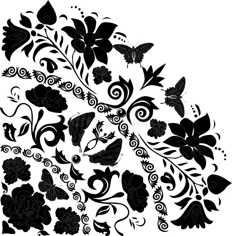 Download Black Butterflies And Flowers Corner Stock Illustration - Image: 7661265