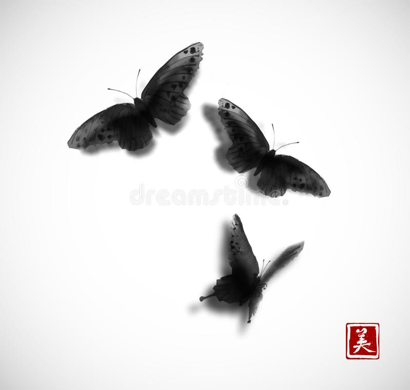 Black Butterflies hand drawn with ink on white background. Contains hieroglyph - beauty. Traditional oriental ink stock illustration
