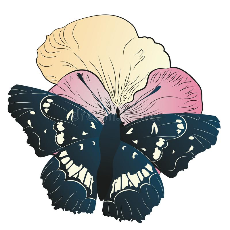 Black butterfly with petunia stock illustration