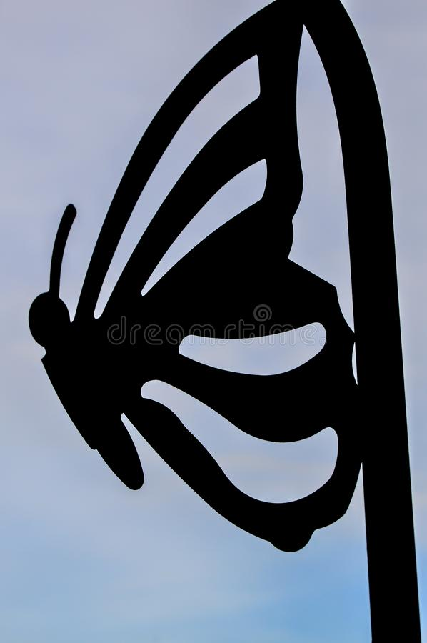 Free Black Butterfly Silhouette Outline - Gray Background Royalty Free Stock Images - 144337969