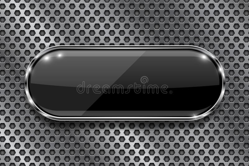 Black button on perforated background. Oval glass 3d icon with metal frame. Vector illustration stock illustration
