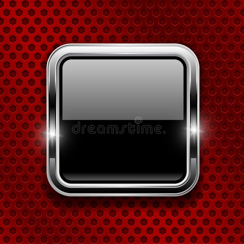Black button on red metal perforated background. Square glass icon with chrome frame stock illustration