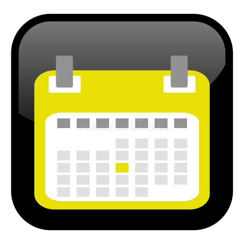 Black Button: Yellow Calendar Icon stock illustration