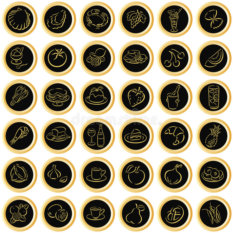 Black buttons with food symbols. Black buttons with golden border and food symbols. Available as EPS-file royalty free illustration