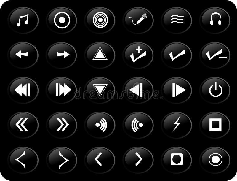 black buttons medel vita stock illustrationer